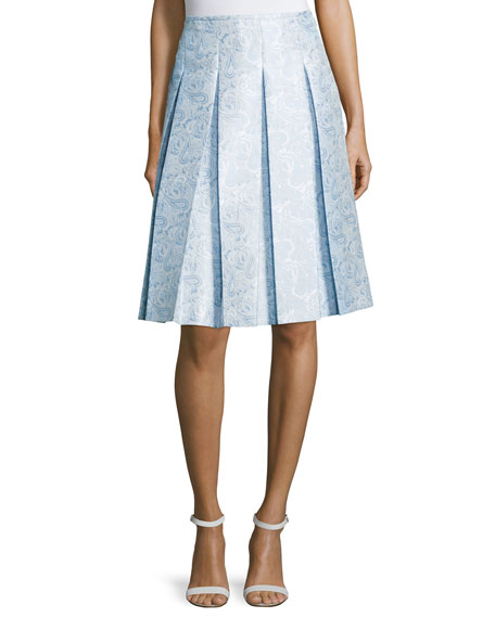 Michael Kors CollectionBox-Pleated A-Line Skirt, Ice/White/Multi