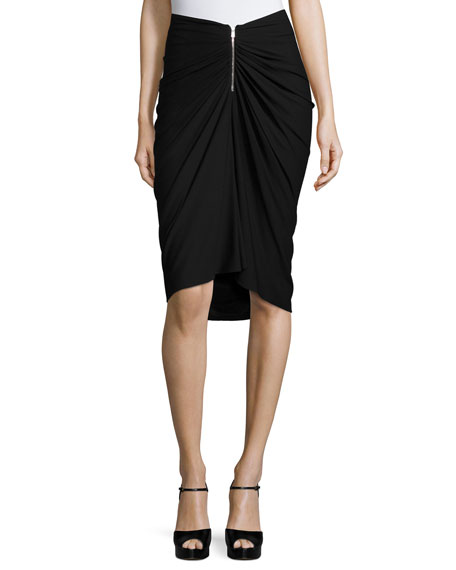 Michael Kors Collection Ruched-Front Pencil Skirt, Black