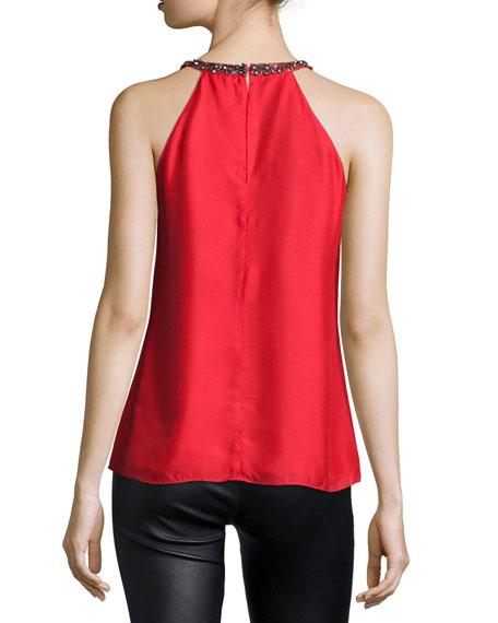 Emmy Beaded-Collar Tank, Crimson