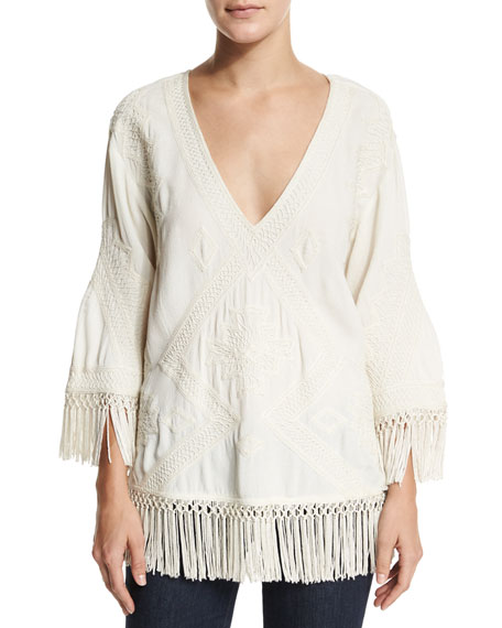 Love Sam Tony Embroidered Top W/Fringe, Ivory