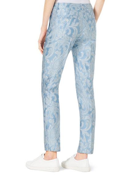 Samantha Paisley-Print Slim Pants