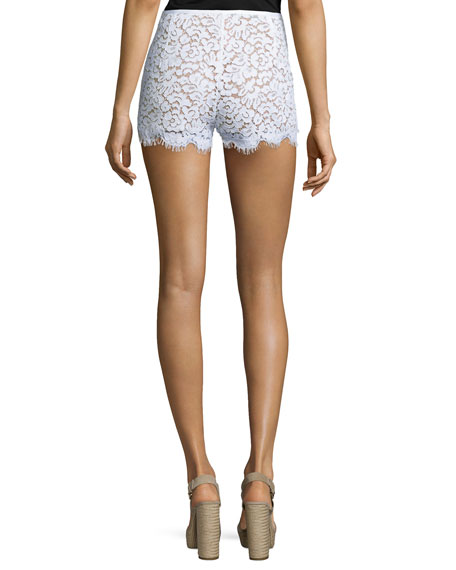Mid-Rise Lace Mini Shorts, White