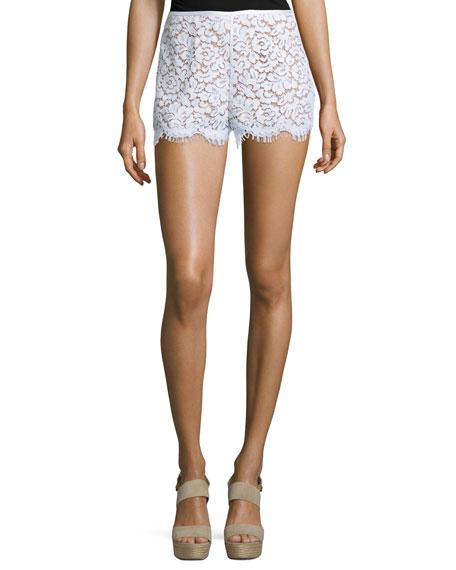 Mid-Rise Lace Mini Shorts, White