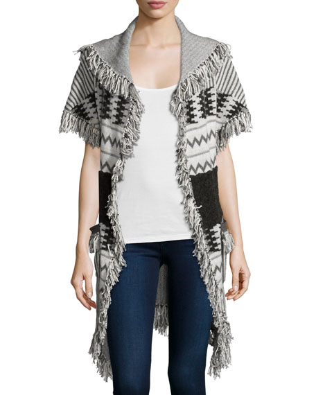 Banjo and Matilda Marrakech Belted Cape W/Fringe, Ivory/Multi
