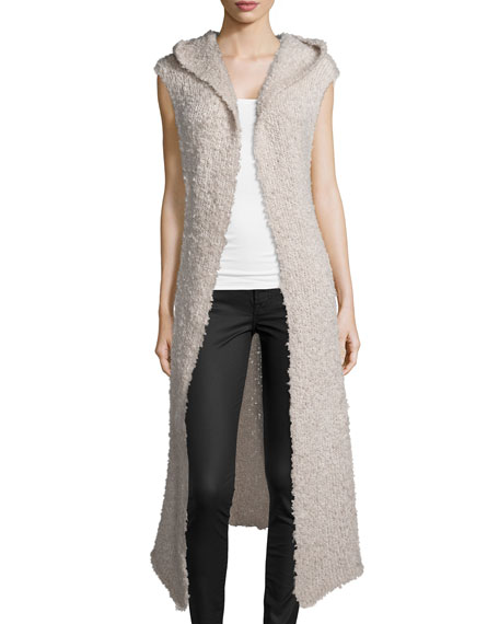 Hooded Open-Front Long Vest, Fawn
