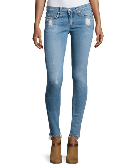rag & bone/JEAN Low-Rise Distressed Skinny Jeans, Everton
