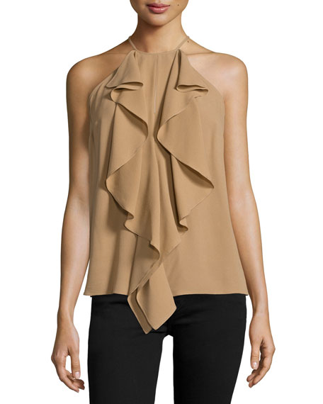 Michael Kors Collection Halter-Neck Ruffle-Front Top, Fawn