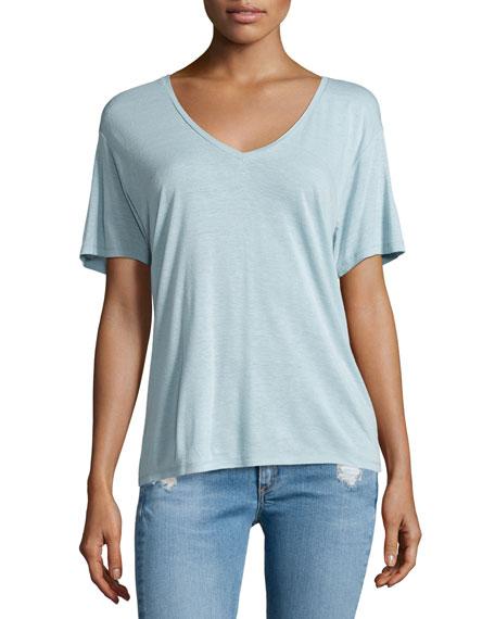 rag & bone/JEANConcert Short-Sleeve V-Neck Tee, Cloud Blue