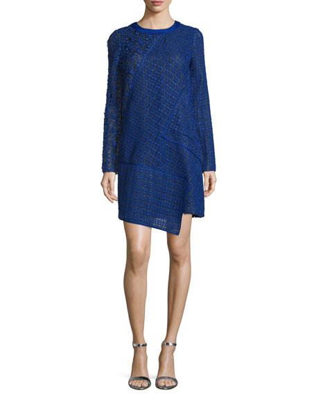 J. Mendel Long-Sleeve Lace Shift Dress, Imperial Blue/Noir