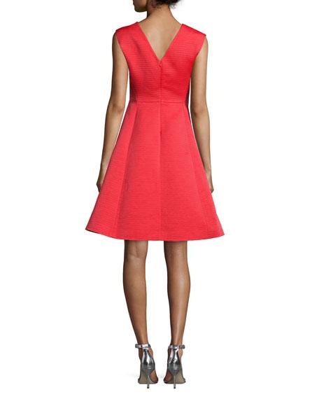 sleeveless embellished crewneck fit & flare Dress