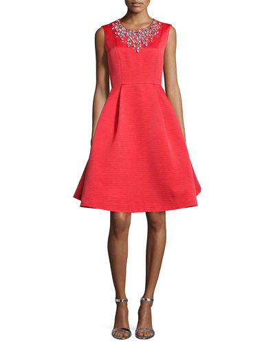 sleeveless embellished crewneck fit & flare Dress