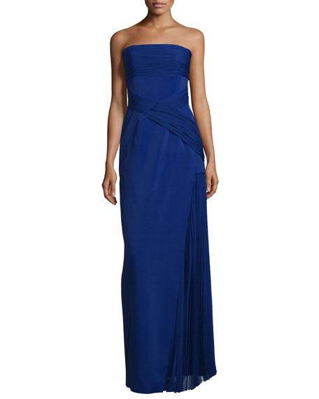 J. Mendel Strapless Plisse-Inset Column Gown, Imperial Blue