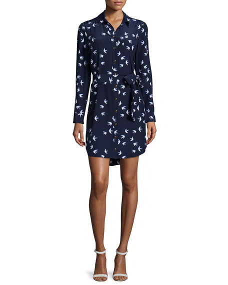 kate spade new york long-sleeve bird-print shirtdress