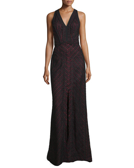 J. Mendel Sleeveless V-Neck Lace-Overlay Gown, Noir/Ruby