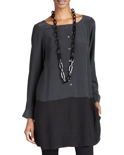 Silk Colorblock Tunic/Dress