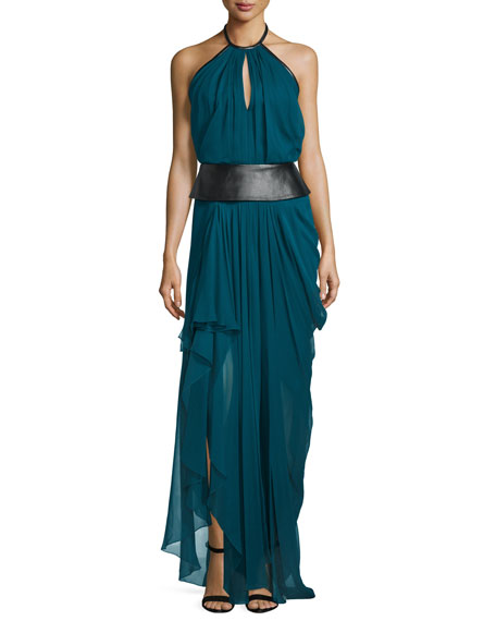J. Mendel Halter-Neck Leather-Waist Flowy Gown, Empress Green