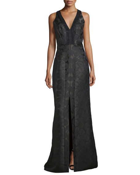 J. Mendel Sleeveless V-Neck Mermaid Gown, Midnight Forest