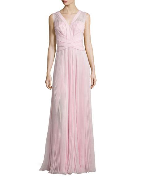J. Mendel Sleeveless Crisscross-Waist Plisse Gown, Rose Fonce