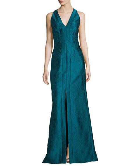 J. Mendel Sleeveless V-Neck Mermaid Gown, Empress Green