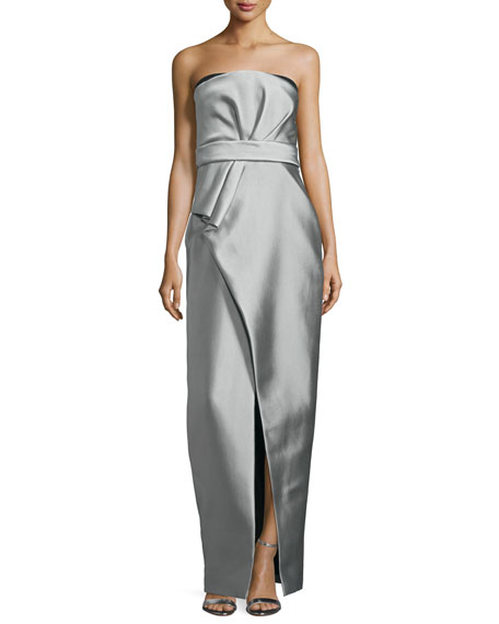 J. Mendel Strapless Pleated Bustier Gown, Gris