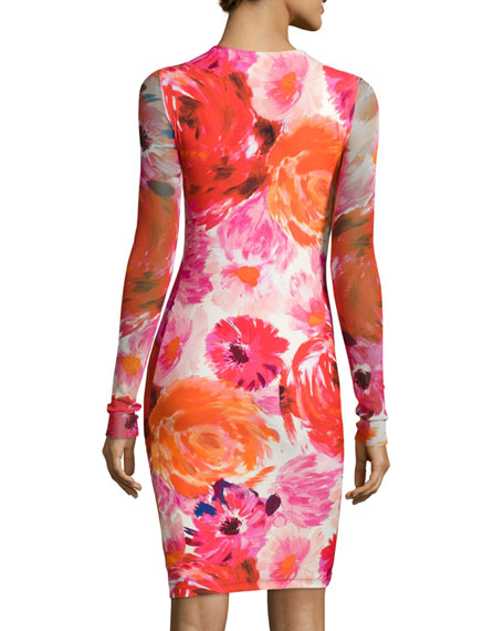 Long-Sleeve Floral-Print Body-Conscious Dress