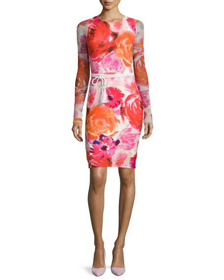 Fuzzi Long-Sleeve Floral-Print Body-Conscious Dress