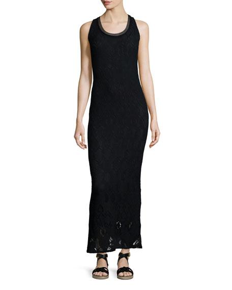 Fuzzi Sleeveless Crochet Maxi Dress, Black