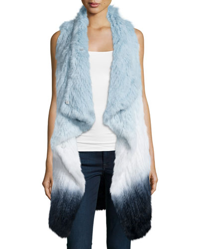 Elijah Watercolor Fur Vest, Jewel Blue