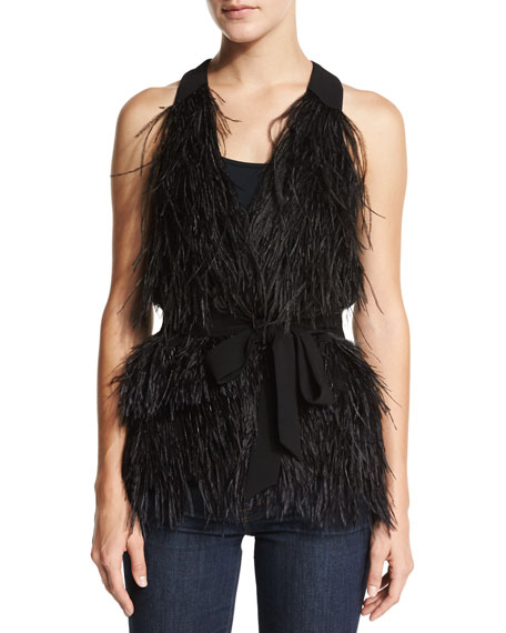 Elizabeth and James Xiomara Feathered Vest W/Belt, Black