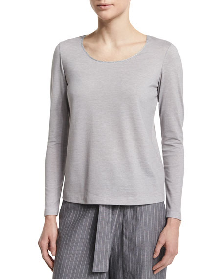 Lafayette 148 New York Long-Sleeve Metallic-Neck Tee