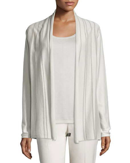 Lafayette 148 New York Sheer Striped Silk/Cotton Cardigan, Raffia