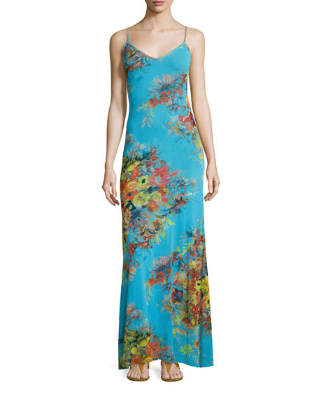 Fuzzi Spaghetti Strap Long Dutch-Print Dress