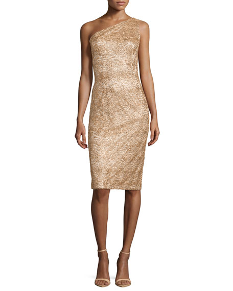 David Meister One-Shoulder Sequined Cocktail Dress, Gold