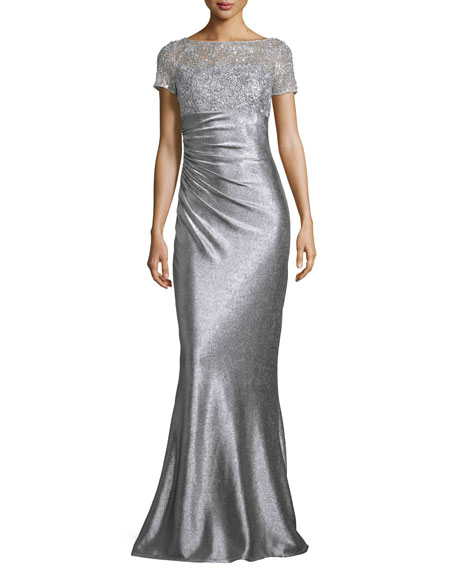 David Meister Short-Sleeve Sequined & Metallic Column Gown