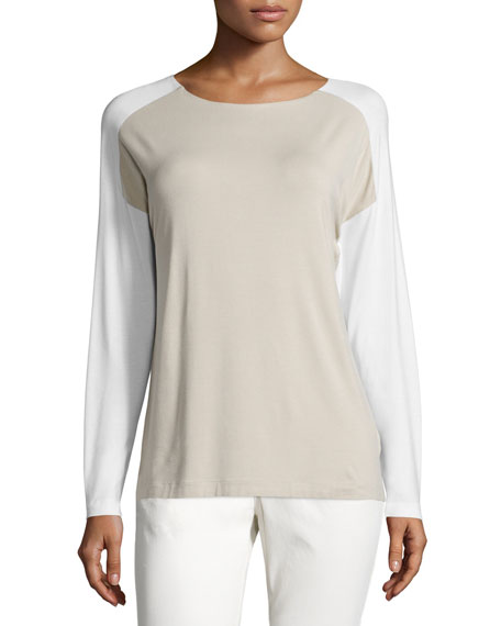Lafayette 148 New York Long-Sleeve Colorblock Tee, Bisque/Cloud