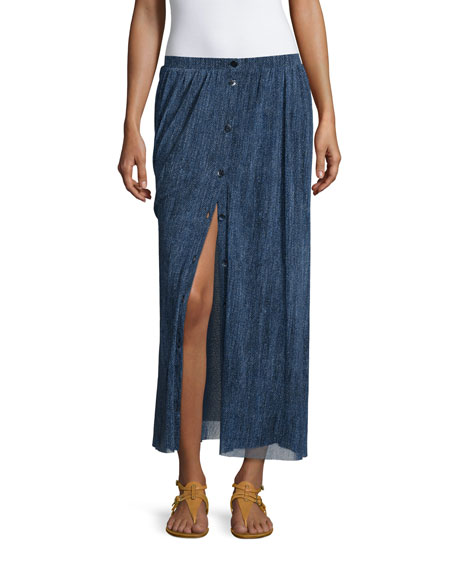 Button-Front Denim Mesh Maxi Skirt