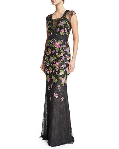 Cap-Sleeve Floral-Embroidered Gown, Black/Multi