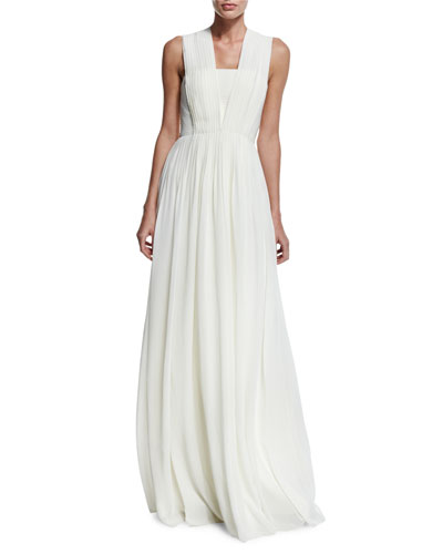 Sleeveless Square-Neck Gown, Ivory