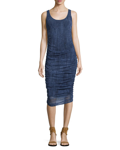 Fuzzi Sleeveless Ruched Knee-Length Denim Dress