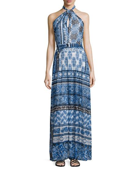 Fuzzi Halter Scarf-Print Maxi Dress