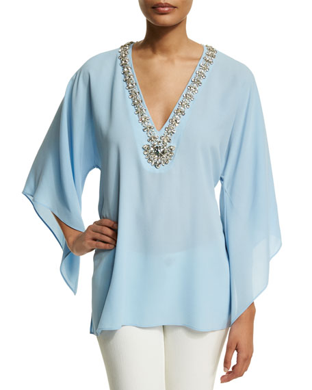Michael Kors Embellished V-Neck Tunic, Ice