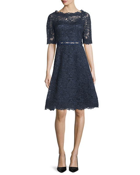 Rickie Freeman for Teri Jon Short-Sleeve Lace A-line