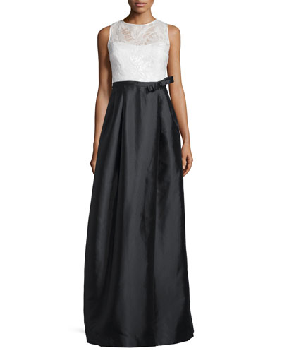 Sleeveless Lace-Bodice Colorblock Gown