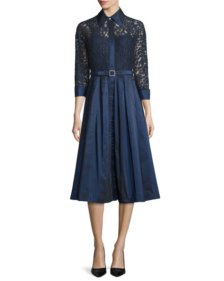 Lace Full-Skirt Belted Cocktail Shirtdress, Navy