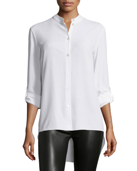 Michael Kors Collection Long-Sleeve Button-Front Blouse, Optic White