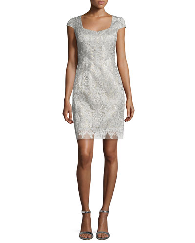 Sweetheart-Neck Lace Cocktail Dress, Silver