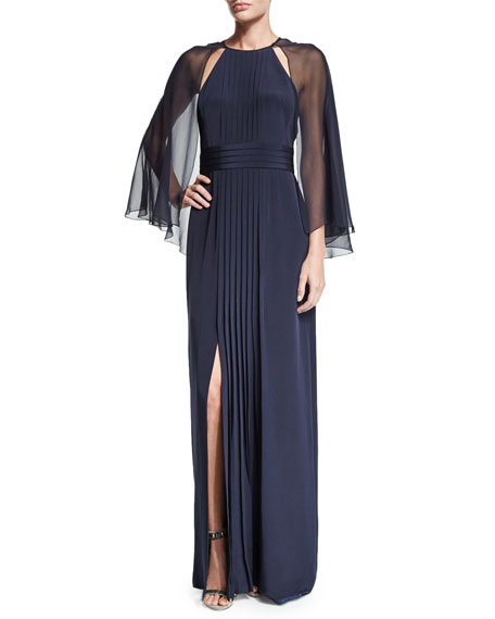 Kay Unger New York Pleated-Front Gown W/Cape, Navy