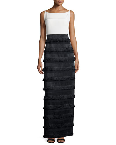 Sleeveless Two-Tone Column Gown, White/Black