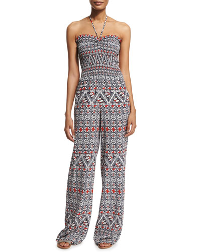Printed Halter Jumpsuit Coverup