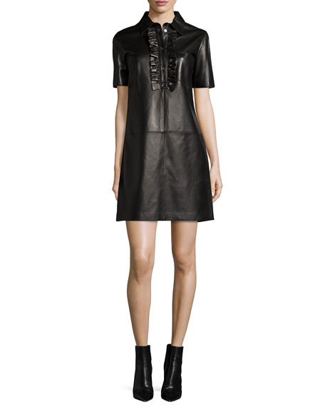 Michael Kors Collection Short-Sleeve Ruffle-Front Leather Dress,